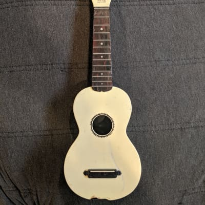 Vintage Maccaferri Islander Uke 1950's - White/ Burgundy Swirl - Sold As Is for sale