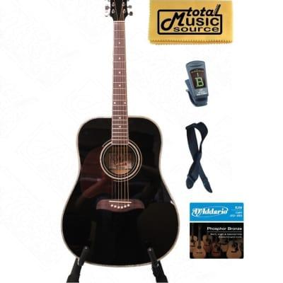 Oscar Schmidt by Washburn OG2 Left Hand Dreadnought Acoustic Guitar Black OG2BLH KIT