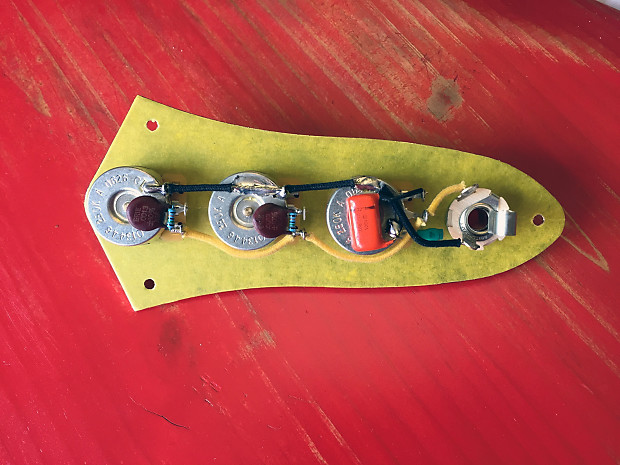 prewired jazz bass wiring harness - usa parts - cts, sprague, switchcraft -  wainwright customs