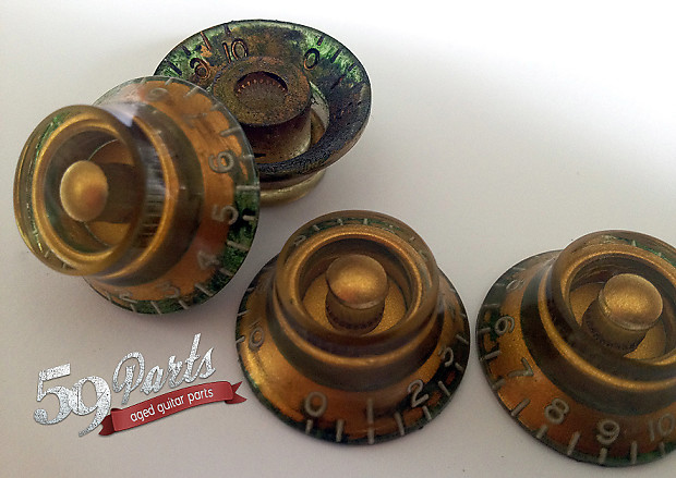 set of 4 hand aged gibson les paul top hat knobs gold relic reverb. Black Bedroom Furniture Sets. Home Design Ideas