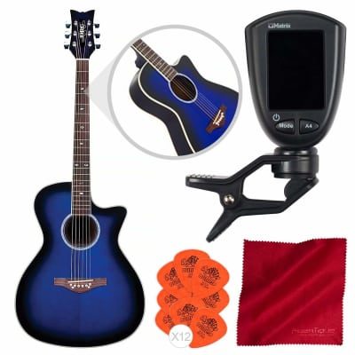 Daisy Rock Wildwood Artist Acoustic-Electric Guitar (Royal Blue Burst) with Guitar Tuner, Picks, and