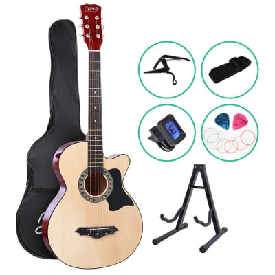 ALPHA Acoustic Folk Guitar with  Cutaway + Accessories set Natural for sale