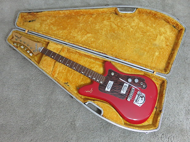 Vintage 1960s Goya Rangemaster Red Electric Guitar From Italy Case Near Mint