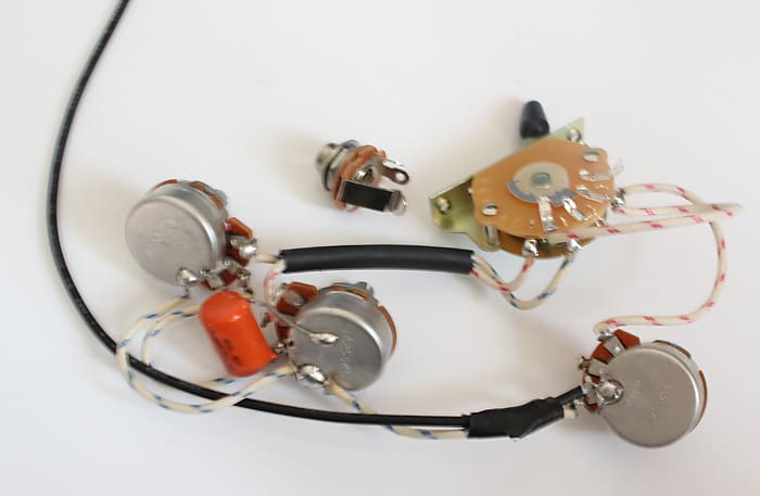 Strat Wiring Harness,Alpha pots 250K,Quality Switch,Orange Drop Capacitor on wire harness repair, wire harness assembly, wire harness connectors, wire harness tubing, wire harness fasteners, wire harness testing,