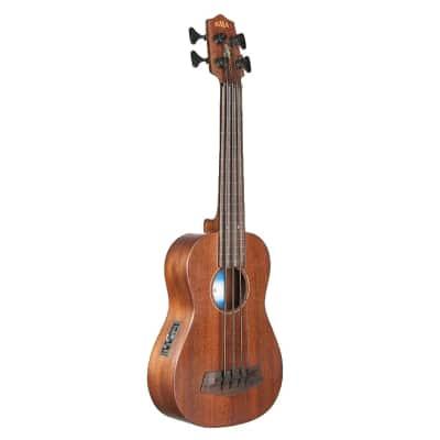 Kala UBASS-SMHG-FL U-Bass Solid Mahogany Fretless Ukulele for sale