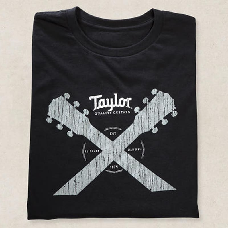 taylor double guitar neck tee shirt black m reverb. Black Bedroom Furniture Sets. Home Design Ideas