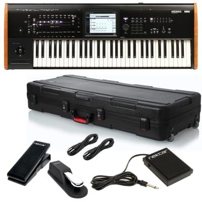 Korg Kronos 2 61-key Synthesizer Workstation, Gator GTSA-KEY61 TSA Keyboard Case, Nektar NX-P, Nektar NP-1, Sustain Pedal, (2) 1/4 Cables Bundle