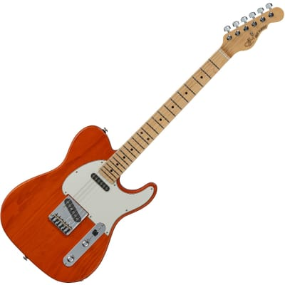 G&L ASAT Classic USA Fullerton Deluxe in Clear Orange for sale