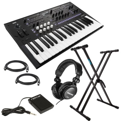 Korg Wavestate Wave Sequencing Synthesizer, Nektar NP-1 Pedal, (2) Midi Cables, (2) 1/4 Cables, Tascam TH02, Keyboard Stand Bundle