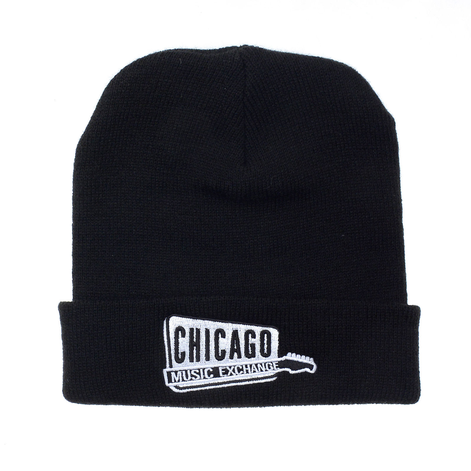 Chicago Music Exchange Winter Beanie Hat Black w White Embroidered Logo -  One Size Fits All   Black be4fe42ce8f