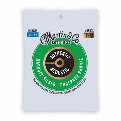 Martin MA550S Authentic Acoustic Marquis Silked Phosphor Bronze Acoustic Guitar Strings, Medium 13-5