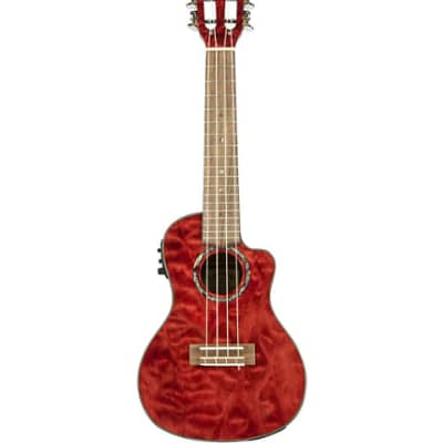 Lanikai QM-RDCEC Quilted Maple Concert Acoustic-Electric Ukulele - Transparent Red for sale