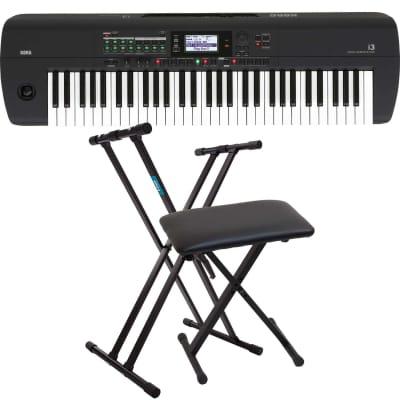 Korg i3 Arranger Keyboard (Matte Black), Keyboard Stand, Bench Bundle