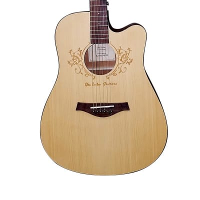 Glen Burton GA302C-NT Deluxe Cutaway Dreadnought Acoustic Guitar w/Laser Flower Etching Satin Natin for sale