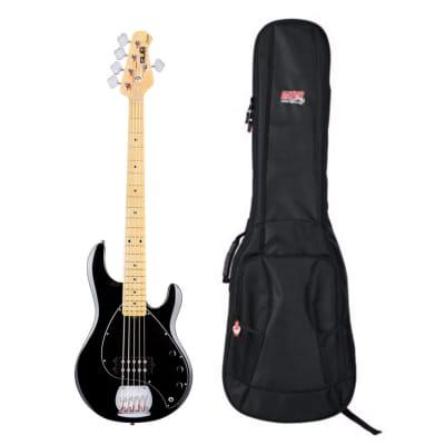 Sterling by Music Man StingRay5 Black + Gator Gig Bag for sale