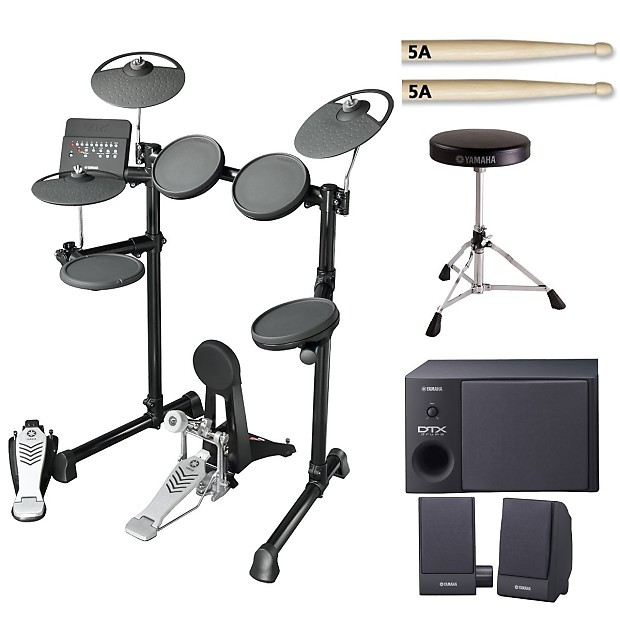 yamaha dtx450k electronic drum set with drum throne sticks reverb