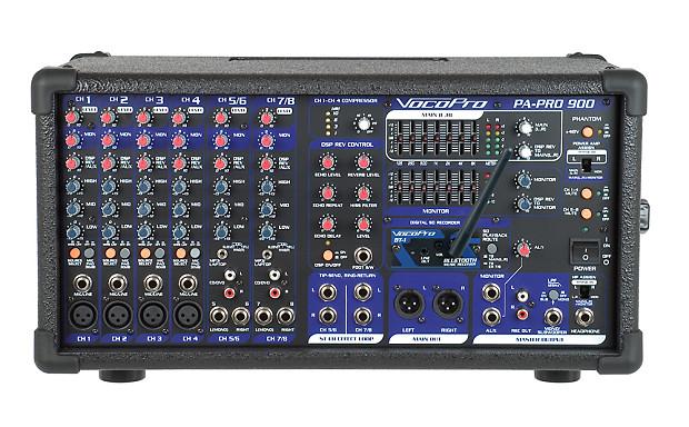 PA PRO 900W Professional Powered Mixer W Bluetooth