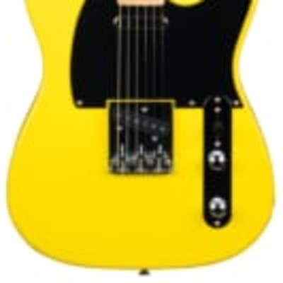 Revelation Guitars Vibrant Series RVT/LH Left handed Electric Guitar in bright Yellow. Matching headstock. for sale