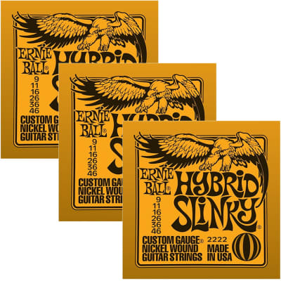 ERNIE BALL Hybrid Slinky Nickel Wound Electric Guitar Strings (2222) - 3 Pack