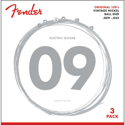 Fender 150 Original Pure Nickel Wound Guitar Strings - Ball End, 9-42, 3 Pack for sale