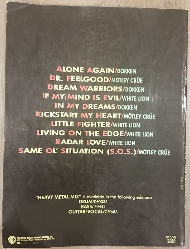 White Lion Dokken Motley Crue Guitar Tab Book Reverb