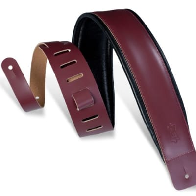Levy's DM1PD-BRG Genuine Leather Guitar Strap, Burgandy/Black *NOT Pre-Owned
