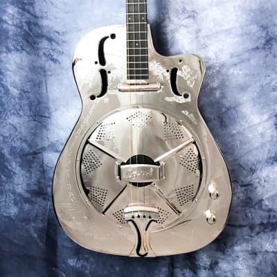 Ozark 3616t Deluxe Tenor Resonator Guitar, Mirrored Chrome for sale