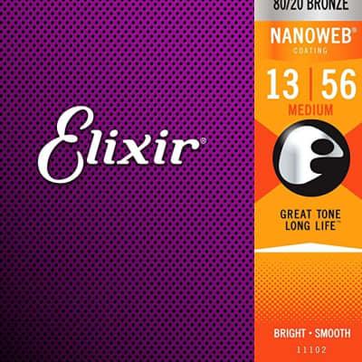 Elixir 80/20 Bronze Nanoweb Coated 13-56 Acoustic Guitar Strings Medium