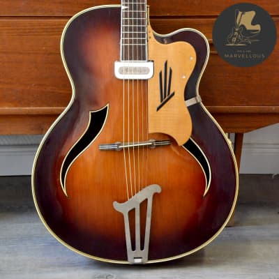 Migma Archtop Guitar with Rellog Pickup 1950s Sunburst for sale