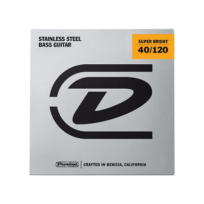 Dunlop DBSBS40120 Super Bright Stainless Steel 5-String Bass Strings - Light (40-120)