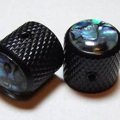 Guitar Parts METAL DOME KNOBS Knurled Barrel 1/4inHole - ABALONE TOP - Set of 2 - BLACK image