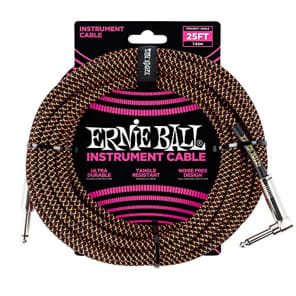 """Ernie Ball P06064 1/4"""" TS Straight to Right-Angle Braided Instrument Cable - 25'"""