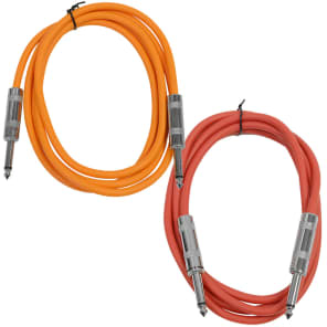 """Seismic Audio SASTSX-6-ORANGERED 1/4"""" TS Male to 1/4"""" TS Male Patch Cables - 6' (2-Pack)"""