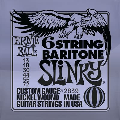 Ernie ball Slinky Nickelwound 6 String Baritone Guitar Strings 13-72 for sale