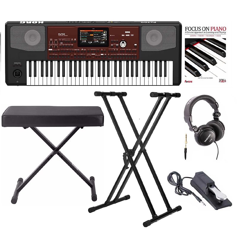 Korg PA700 61-Key Keyboard with Knox bench, Stand, Pedal, Headphones and  Book