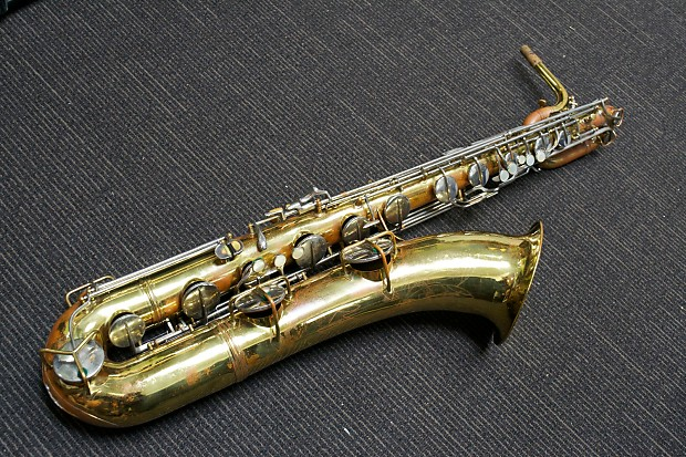 C G  Conn 12M Baritone Saxophone Gold Lacquer NAKED LADY