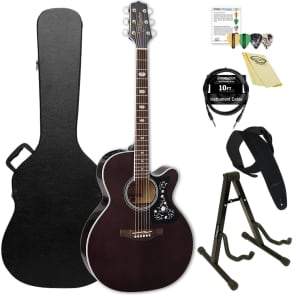 Takamine GN75CE TBK NEX Cutaway Acoustic-Electric Guitar with ChromaCast Hard Case & Accessories, Transparent Black for sale