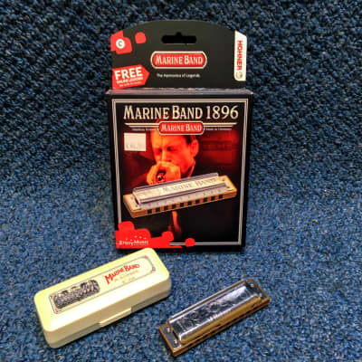 New Hohner Marine Band 1896 Harmonica w/Case and Online Lessons - Db