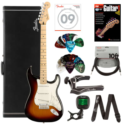 Fender Player Stratocaster, Maple - 3-Color Sunburst Bundle with Hard Case, Cable, Tuner, Strap, Strings, Picks, Capo, Fender Play Online Lessons, and Austin Bazaar Instructional DVD for sale