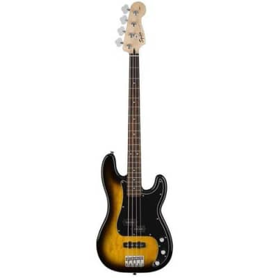 Squier Affinity PJ Bass Electric Bass Guitar Pack, Includes Rumble 15 120V Amplifier, Electronic Tuner, Cable and Strap, Brown Sunburst
