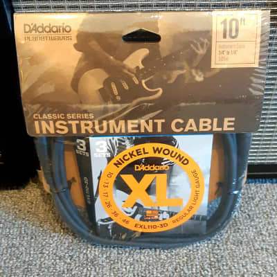 Planet Waves EXL110-3DCGT10   3-Pack EXL110 Strings + 10FT CLS Cable for sale