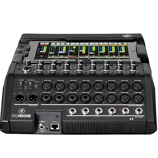 mackie dl1608 16 channel digital live sound mixer with ipad reverb. Black Bedroom Furniture Sets. Home Design Ideas