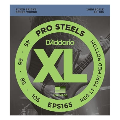 D'Addario EPS165 XL ProSteels Regular Gauge, Long Scale Bass Strings
