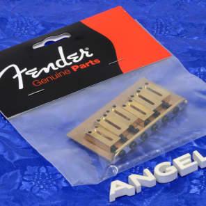 Genuine Fender American Standard Stratocaster Gold Non-Tremolo Bridge Assembly 0036808000