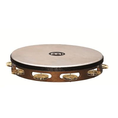 "Meinl TAH1B-AB 10"" Traditional Wood Tambourine with Single Row Brass Jingles"
