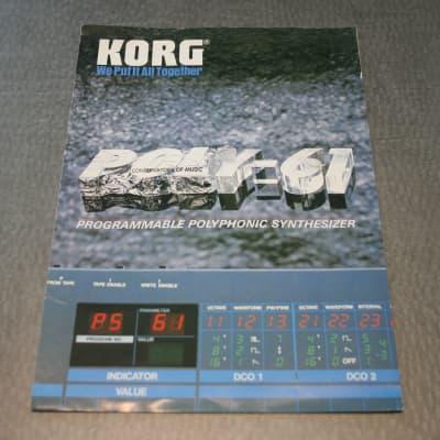 Korg Poly-61 Programmable Polyphonic Synthesizer 1980s Dealer Brochure