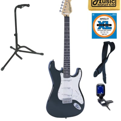 Vintage Guitars V6 Reissue Electric Guitar - Boulevard Black, Stand Bundle