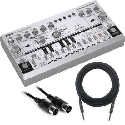 Behringer TD-3-SR Analog Bass Line Synthesizer - Silver - Basic Cable Kit