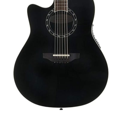 Ovation Timeless Collection 6 String Acoustic-Electric Guitar, Left, Black, Mid Depth Body (L771AX-5)