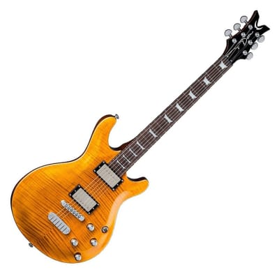 Dean Icon Flame Top Trans Amber arched Top DMT Series Nostalgia Electric Guitar for sale